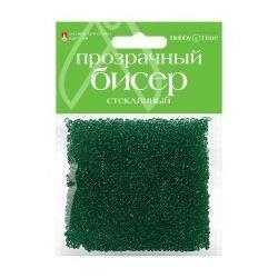 Бисер прозрачный, стеклянный, 2 мм, 60 грамм (зеленый 6)