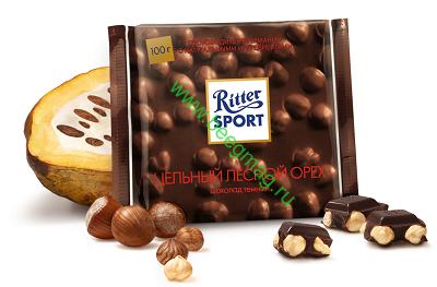 Шоколад Ritter Sport тёмный с цельным лесным орехом 100 гр.