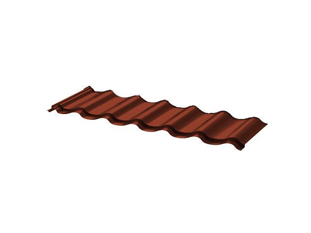металлочерепица монтеррей 1,18х0,4м толщ.0,4мм коричневый 1 волна