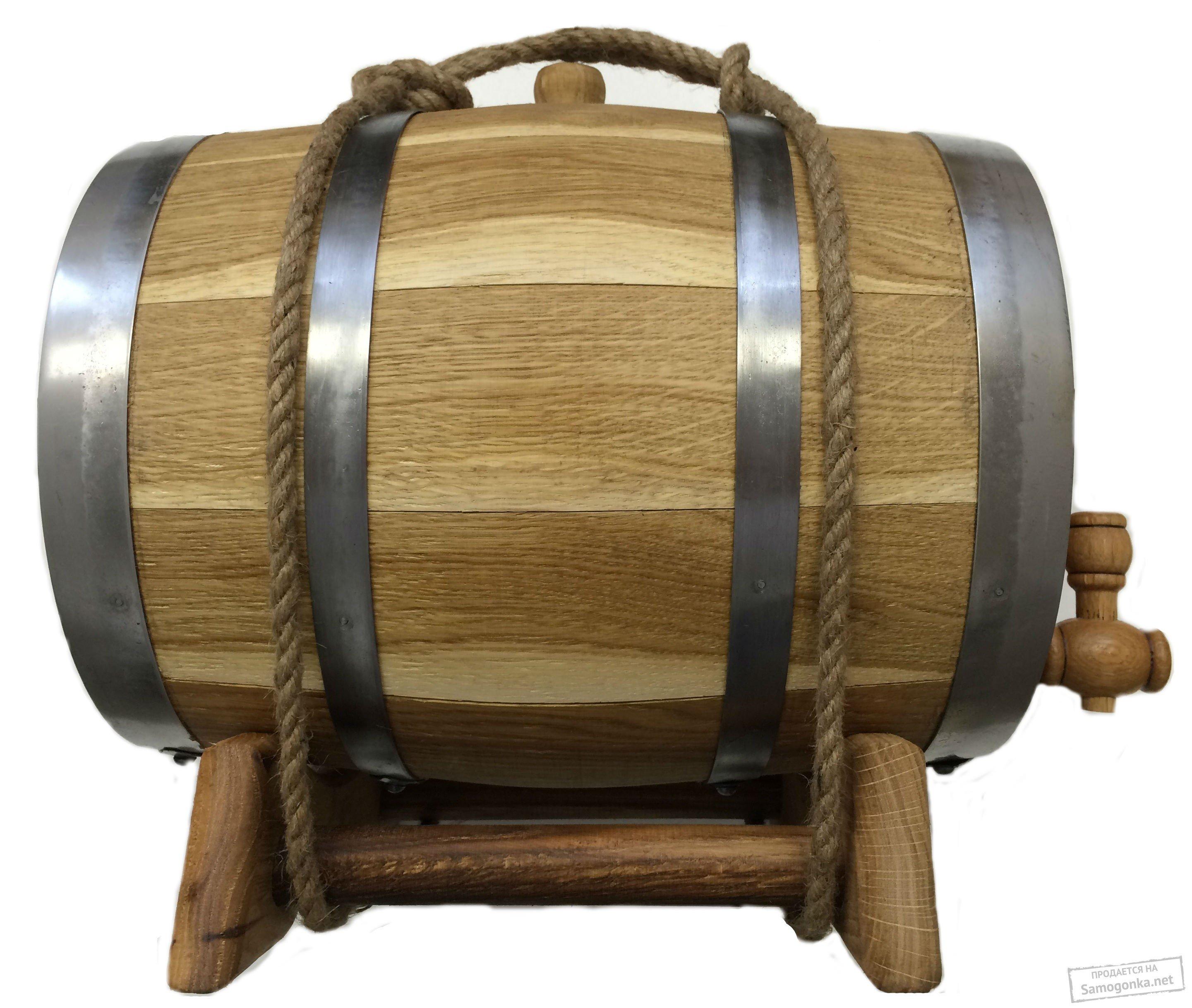 Бочка дубовая из кавказского дуба 3 л (литра) в оплетке для самогона.