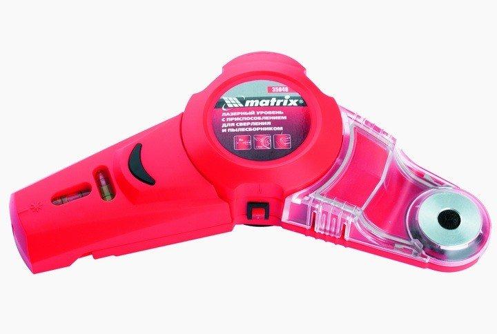 Лазерный уровень с приспособлением для сверления и пылесборником