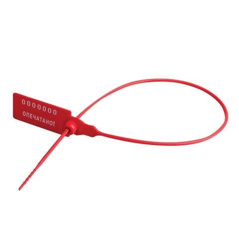 Пломбы пластиковые номерные, самофиксирующиеся, длина рабочей части 320mm, красные, комплект 1000 шт., 600806