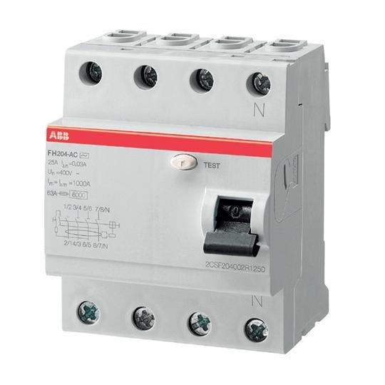 УЗО (устройства защитного отключения) FH204 AC-25/0,03 Блок утечки тока (УЗО) 4-полюс. 25A 30mA, тип АC ABB
