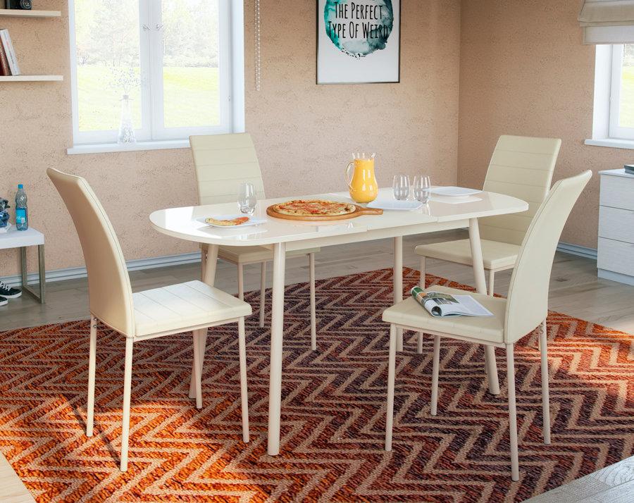 Обеденная группа для столовой и гостиной Обеденная группа для столовой и гостиной Mebwill Стол Раунд + 4 стула Винс [Кремовый]