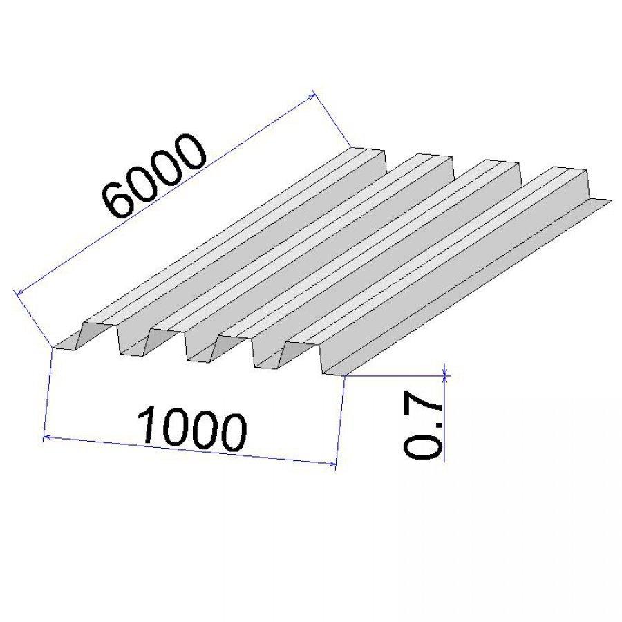 Профнастил С21 размер листа 0.7x1000x6000 мм (толщина х ширина х длина) оцинкованный профлист с высотой волны 21 мм, стеновой