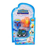 ABtoys Набор резиновых игрушек для ванной – Веселое купание, 3 предмета: вертолет, поезд, самолет
