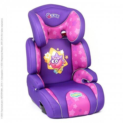 Кресло детское автомоб. СМЕШАРИКИ группа 2,3, вес 15-36кг (фиолет.с ежиком) спец.цена