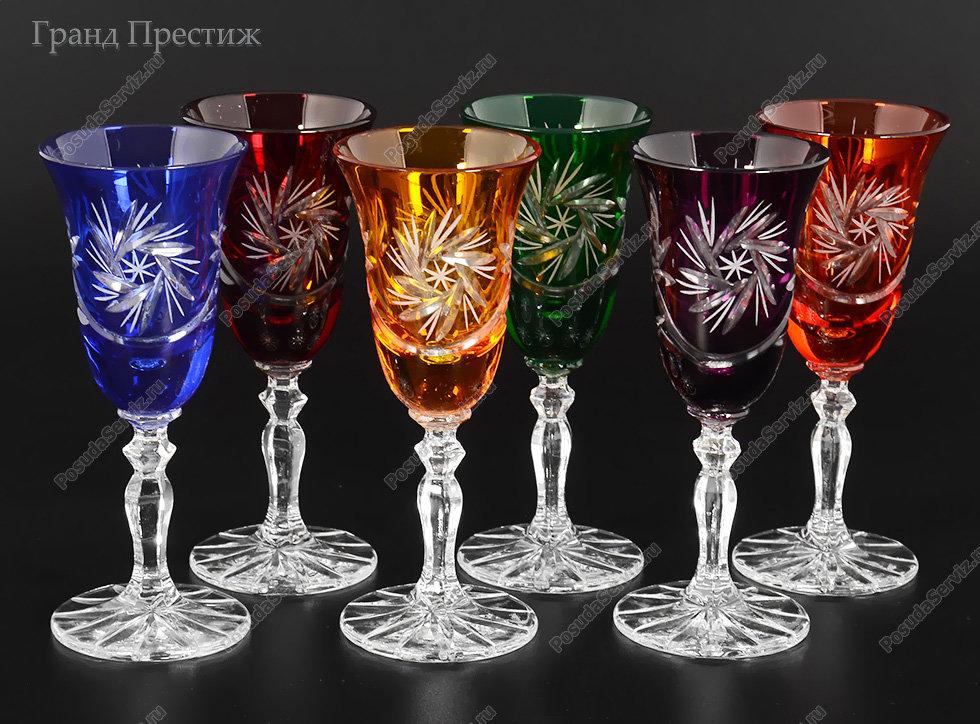 Набор рюмок Богемия Кристал (Bohemia Crystal) Набор рюмок для водки из хрусталя 60 мл. Цветной хрусталь. цветные
