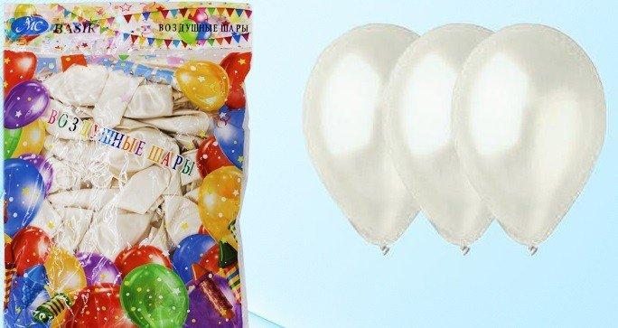 Воздушные шарики, белый металлик , размер 12, 100 штук