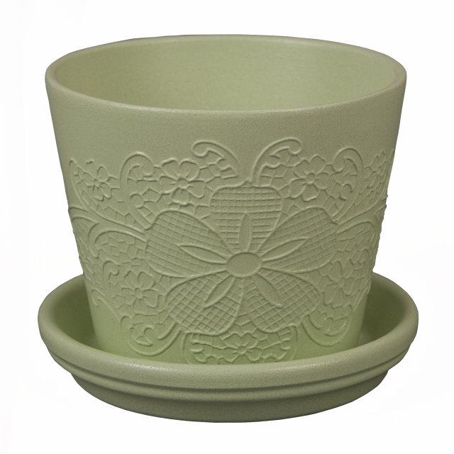 горшок керамический с поддоном d19см 2,3л зеленый