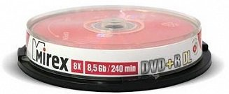 Диск DVD+R Mirex UL130062A8L Mirex 204213 8.5 Gb, 8x, Cake Box (10), Dual Layer (10/300)