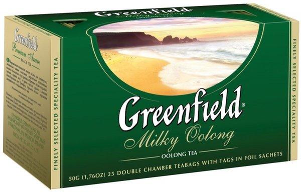Чай GREENFIELD Milky Oolong, зеленый с добавками, пакетированный, 25 пак/упак
