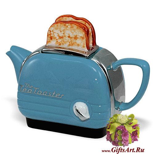 Заварочный чайник фарфоровый подарочный Тостер. Средний. 4 цвета.