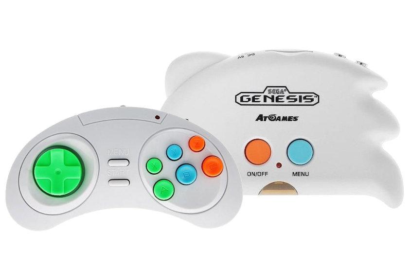 Игровая приставка Sega Genesis Nano Trainer (цвет белый) + Блок питания + 1000 игр