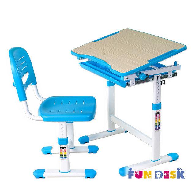 Детская растущая парта для школьника для дома растишка и стул fundesk piccolino клен/голубой