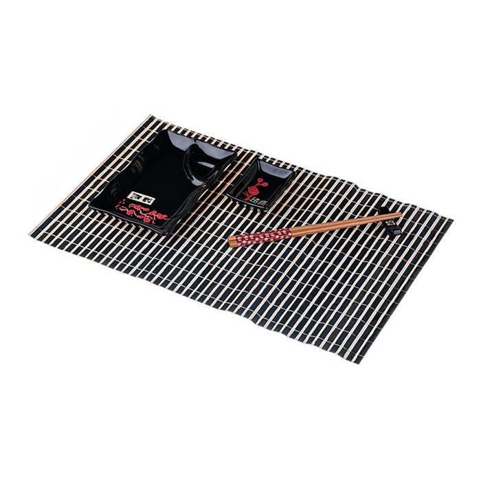 LEFARD Для суши 31-242 набор для суши 5 предметов: соусник, блюдо, подставка под палочки,салфетка бамбук, палочки бамбук ) керамика/комбинированные материал