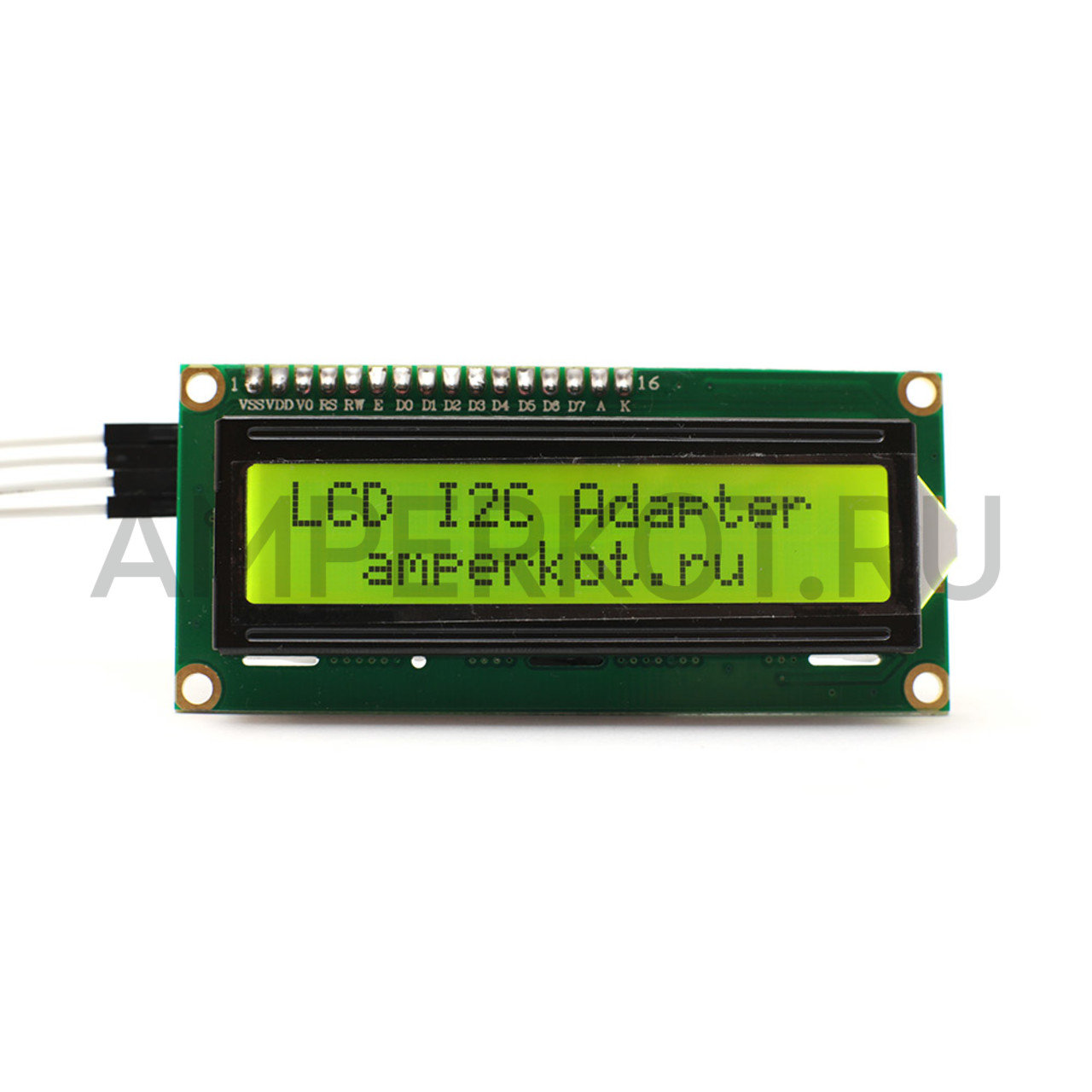 LCD дисплей HJ1602A 16x2 с I2C переходником, желтая подсветка