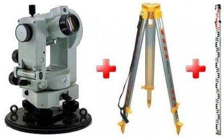Оптический теодолит УОМЗ 2Т30П в комплекте со штативом, рейкой и становым винтом