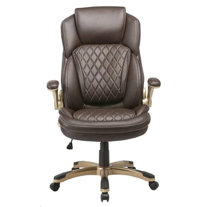 Кресло руководителя Бюрократ T-9915/BROWN коричневый кожа/кожзам (пластик золото)