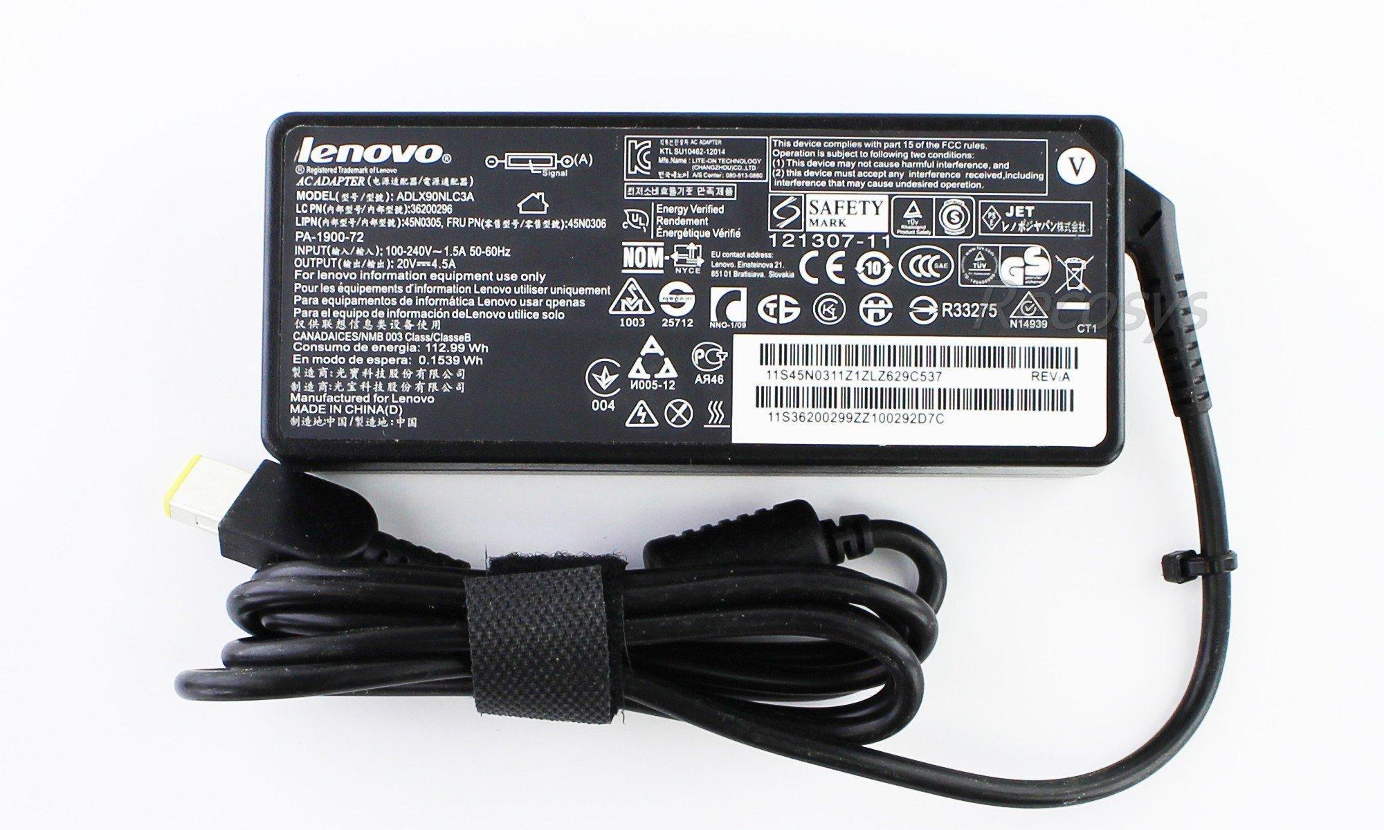Блок питания для ноутбука Lenovo G50-80 20V 4.5A прямоугольный