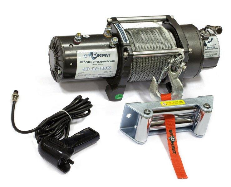 Лебедка электрическая автомобильная стократ SD 8.0 SSW (короткий барабан), 12V, 5.5 л.с.