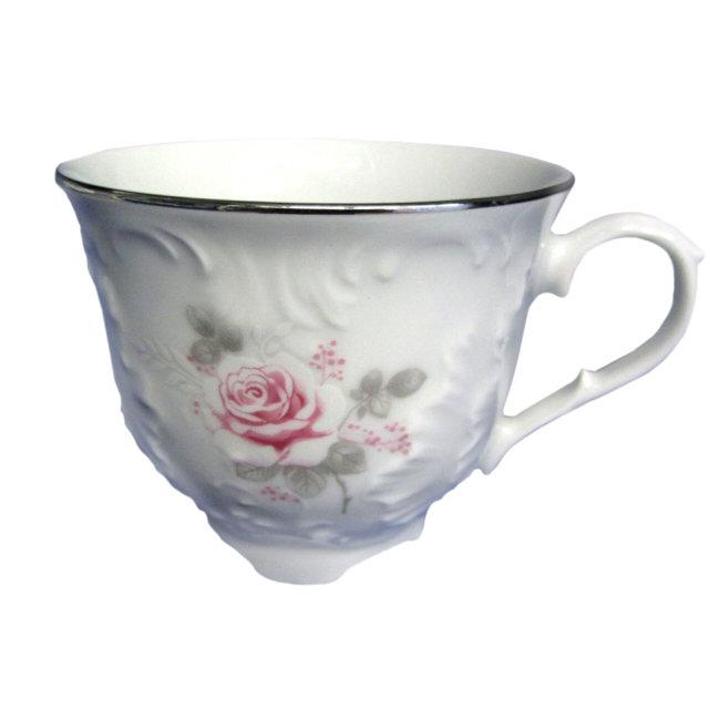 чашка рококо бледная роза отводка платиной 250мл фарфор