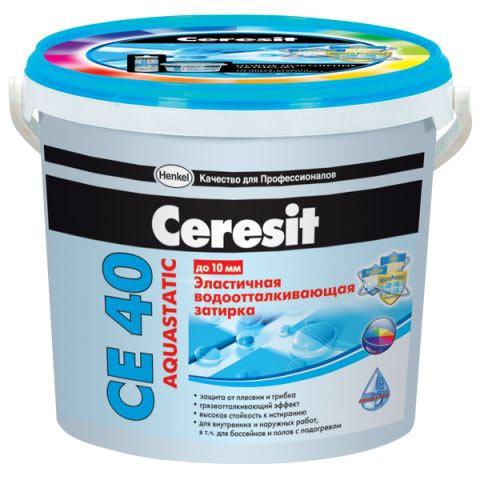 Затирка Ceresit СЕ 40/2 Aquastatic водоотталкивающая Белая 01 (2 кг)