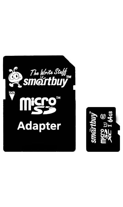 Карта памяти SmartBuy MicroSD XC 64 ГБ class 10 (с адаптером)