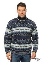 Вязаный мужской свитер фрея • Зимний свитер с горлом синий 100% шерсть [Размер: l]