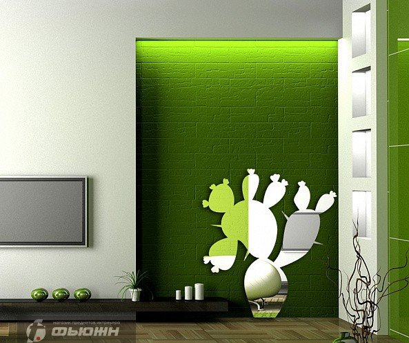 Акриловое зеркало Кактус