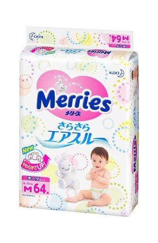 Подгузники Merries M Air Through 6-11 кг 64 шт