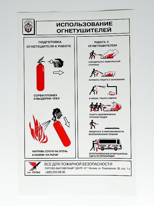 Плакат 'Использование огнетушителей' (А4, самоклеющийся)
