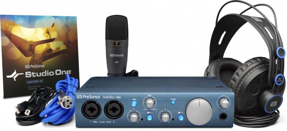 PreSonus AudioBox iTwo Studio комплект для звукозаписи (AudioBox iTwo, Studio One Artist + Capture Duo for iPad, микрофон M7, наушники HD7)