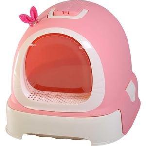 Туалет Makar бокс розовый с выдвижным поддоном для кошек 55х42х43 см (МАК103)