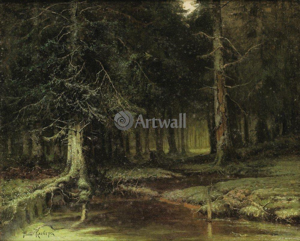 """Художники, картина """"Взгляд в лесу в сумерках"""", 25x20 см, на бумаге"""