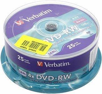 Диск Verbatim DVD-RW, 4.7Gb, 4x, Cake Box, 25 шт (43639)