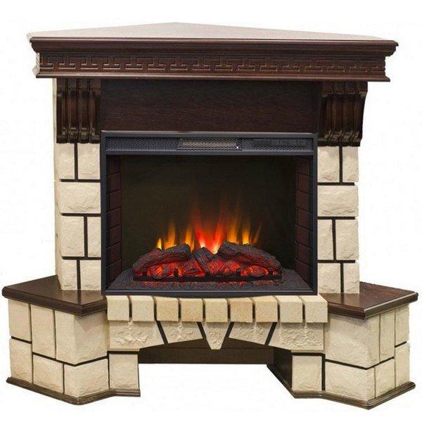 Электрический камин для квартиры Real-Flame Stone Corner new 25 с очагом Sparta 25,5 LED угловой