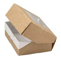 Коробка с окном крафт 10 х 8 х 3,5 см, внутри ламинация