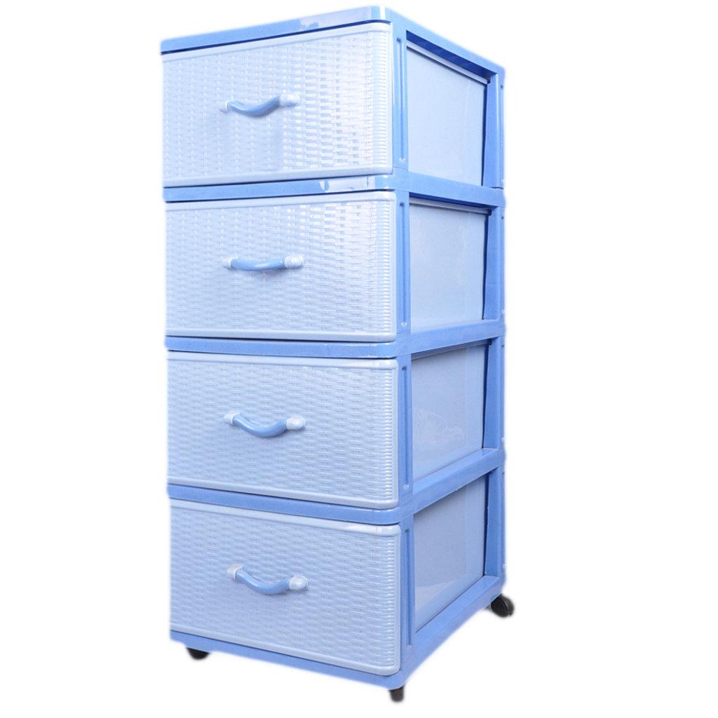 Комод 4 секции Dunya Plastik голубой, 40х50х94 см