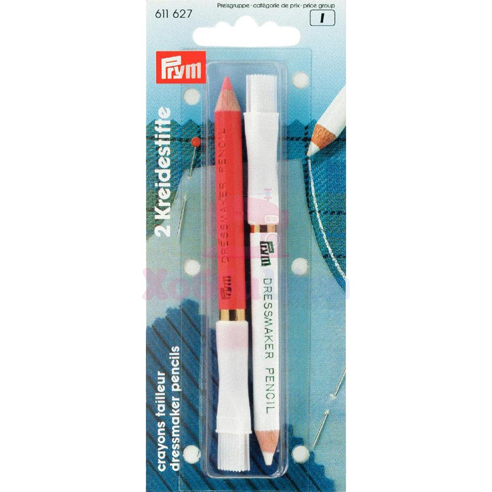 Меловые карандаши со стирающей кисточкой бел./роз. 2 шт Prym 611627