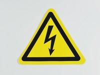 Знак 'Опасность поражения электротоком' (ГОСТ Р 12.4.026-2001) 200х200х200 мм