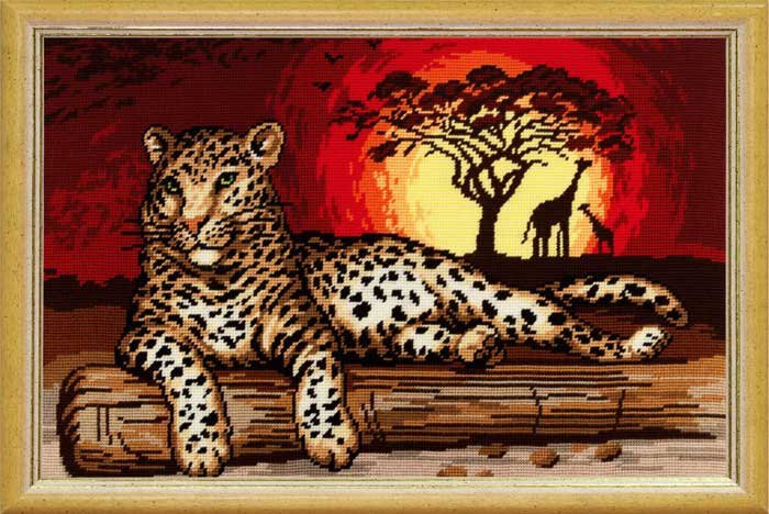 "Набор для вышивания пряжей QUICK TAPESTRY арт. TS58 ""Леопард"" 50х80 см"