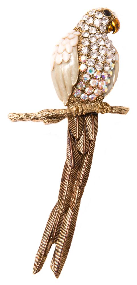 Броши Herald Percy Брошь-попугай белого цвета