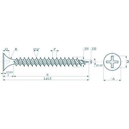 Саморез с потайной головкой и мелким шагом Саморезы 3,5х19 потай, частая резьба, оксид (1 кг) Прочие зарубежные