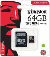 Карта памяти Kingston microsdxc 64gb class 10 canvas select + адаптер (sdcs/64gb)