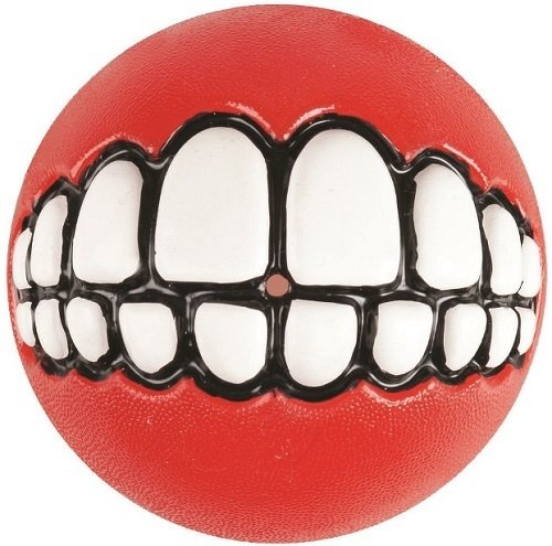 """Игрушка для собак ROGZ Мяч с принтом """"зубы"""", размер M, красный (GR02C)"""