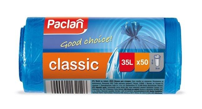 Пакеты для мусора PACLAN CLASSIC 35л, 50шт. (ПНД) синие