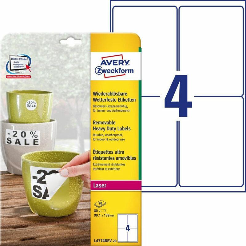 Этикетки Avery Zweckform всепогодные, удаляемые, 99,1 x139 мм, полиэстер, L+K+CL, 80 штук, 20 листов Белый ZWL4774REV-20