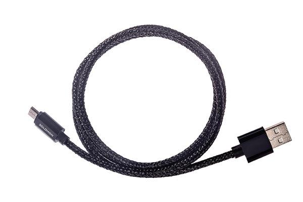 Кабель Solomon microusb 2а nylon metall connector (1м.)