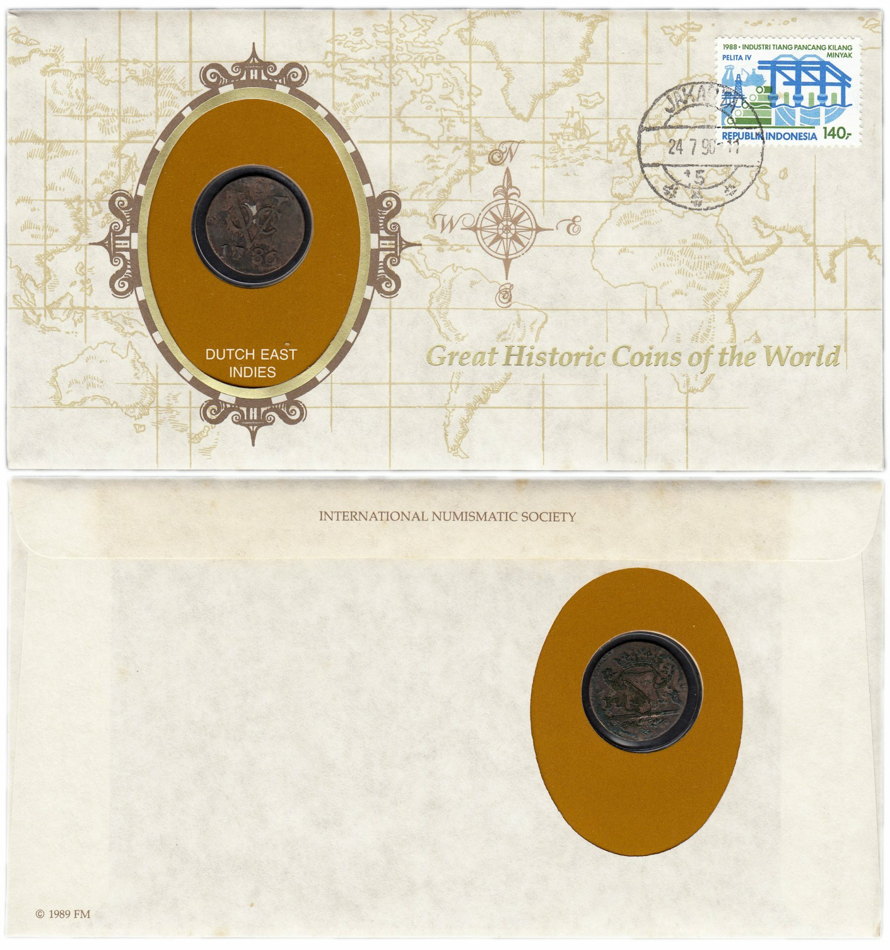 Серия «Великие исторические монеты мира» - Голландская Ост - Индия 1 дуит 1786 (монета и 1 марка в конверте) T003101